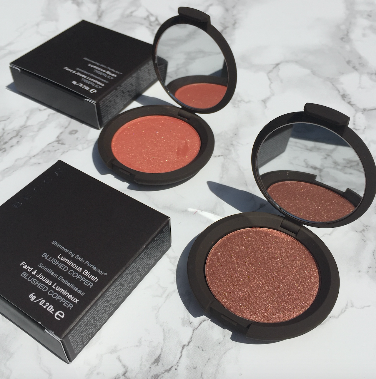 Becca Luminous Blush in Tigerlily en Blushed Coppe